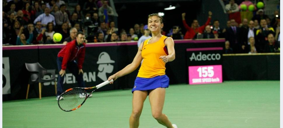 Aer! Simona Halep reușește o victorie importantă cu Kvitova, România conduce Cehia cu 2-1